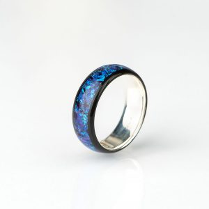 Silver Ebony Opal Lavenver Ring