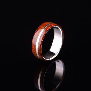Silver Red Padouk Wood Men Ring